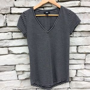PAIGE Black & White Striped V Neck Tee