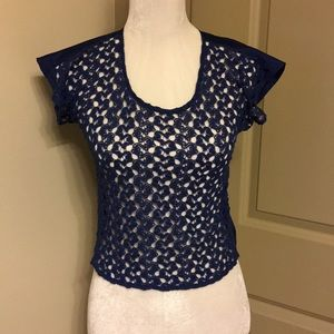 Aqua deep royal blue crocheted crop top