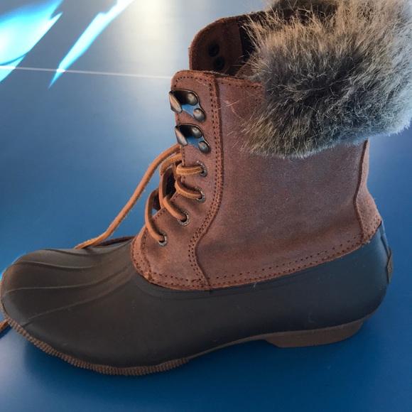 Womens Sperry Fur Scuffed Duck Boots
