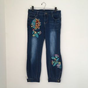 Embroidered cropped denim Joggers