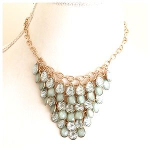 Beautiful Cascading Gold & Mint Green Bib Necklace