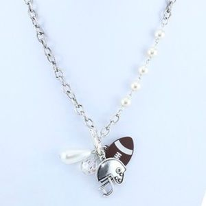 Necklace with Football/Helmet/pearl chain