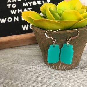 NWT Handmade Mason Jar Dangle Earrings