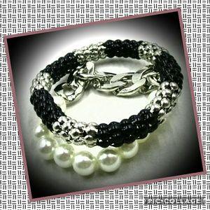 White Gold Plated Pearl Bangle Beaded Bracelet