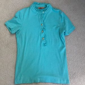 Tory Burch Aqua Short Sleeved Polo Shirt