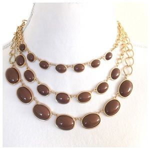 Multistrand Gold & Brown Stone Statement Necklace
