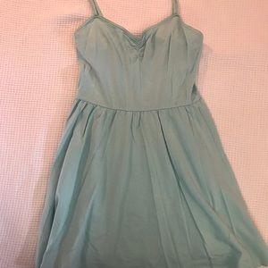Sea foam tank top dress with pleated skirt