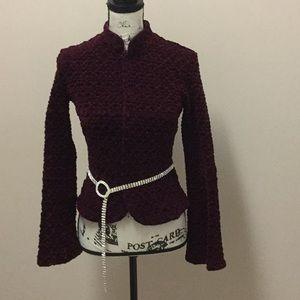 Cache textured burgundy velvet jacket - vintage