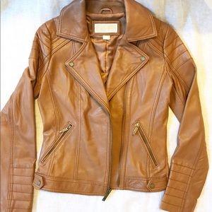 Michael Kors Brown Leather Moto Jacket