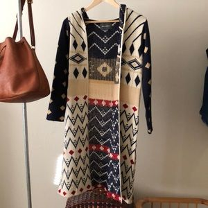 Duster cardigan with hood