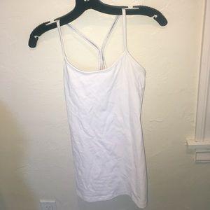 white lululemon tank top built in bra