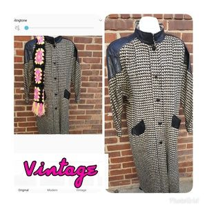 Fabulous wool and leather vintage coat L and up