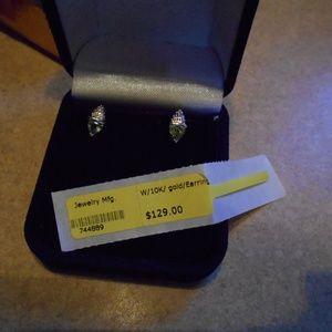 10K White Gold Peridot earrings with diamond chips