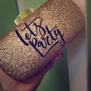 "Gold sparkly ""Let's Party"" clutch"