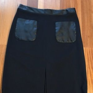 Ann Taylor faux leather pockets skirt