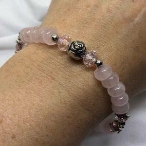 🆕Handmade Rose Quartz & Pink Crystal Bracelet