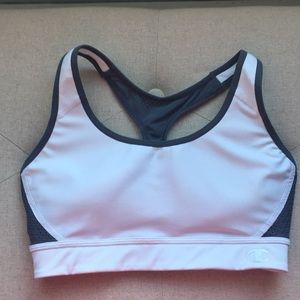 White and grey Champion sports bra