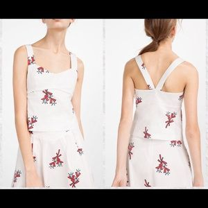 Zara Trafaluc Floral Wide Strap Fitted Top