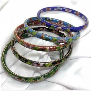 🆕Five Vintage Cloisonné Bangle Bracelets