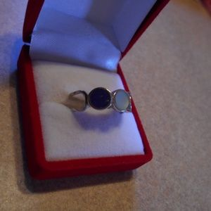 Sterling Silver Blue Mother of Pearl Ring