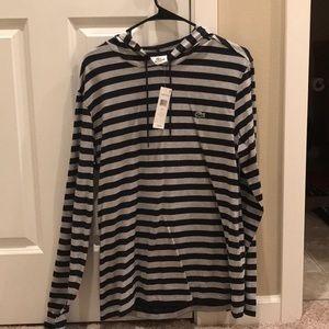 Lacoste striped long sleeve w/ hoody