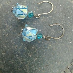 Blue Glass Dangling Earrings