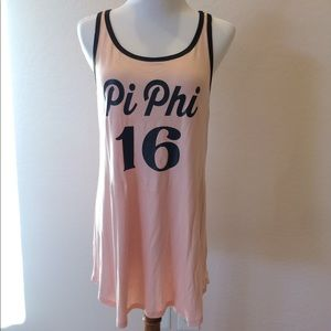 Pink and charcoal flowy Pi Phi tank