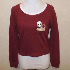 Good Vibes Alien Maroon Cropped Sweatshirt