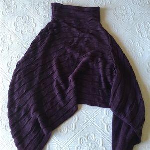 Rikka - Dark Purple Textured Cape / Poncho