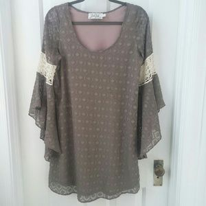 VaVa by Joy Han dress small taupe and ivory