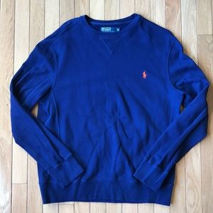 POLO Royal Blue Pima Cotton Crewneck Sweatshirt