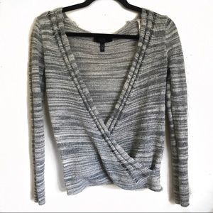 Heather gray wrap knit top