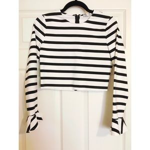 Zara Black & White Crop Top (Ruffle Sleeves)
