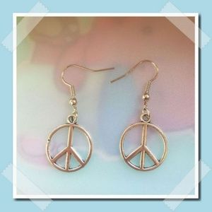 Jewelry - Handmade Antique Silver Peace Earrings .