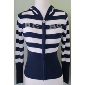 BCBG Maxazria Full Zip hoodie stretch Sweater S M