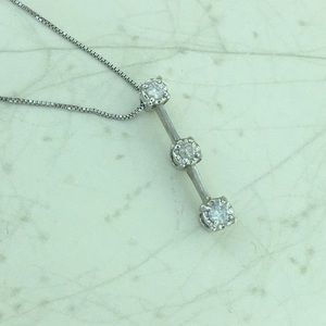 Jewelry - 14k W Gold 3 diamonds Past Present Future charm
