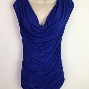 GUESS Women's Royal Blue Cowl Neck Blouse