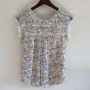 Floral lace detail blouse