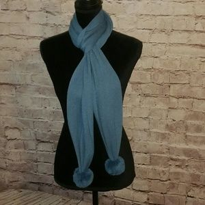 EUC dusty blue scarf with poms