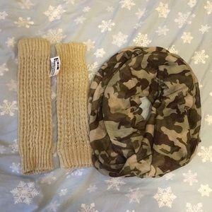Infinity scarf + leg warmers bundle!!