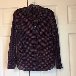 JCrew navy and red polka dot silk blouse.