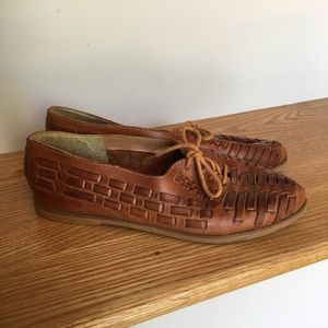 Vintage Leather Woven Huaraches Tie Shoes
