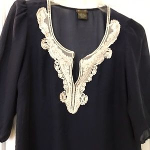 Anthropologie Navy and white sheer blouse
