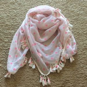 Polka Dot Tasseled Scarf