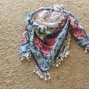 Printed Tasseled Scarf