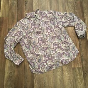 Paisley Print Button Front Blouse Shirt