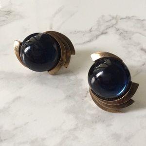 Vintage Galaxy Blue Cat eye Clip  on Stud Earrings
