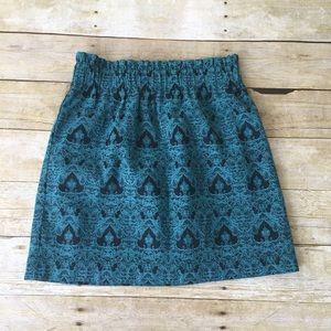 F21 Blue Patterned Mini Skirt