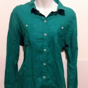Mossimo Long Sleeve Button Front Top Large