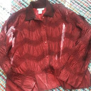Satin and lace mesh blouse